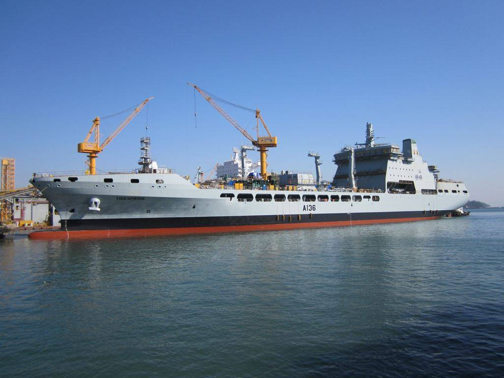 RFA Tidespring (A136) is fitting out at Daewoo Shipbuilding & Maritime ...